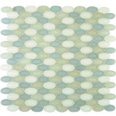 "Nantucket Sound Blnd (Frosted)  Ovals  [11 1/4"" x 11 3/4""]  Part #:GL1428-OVALF0"