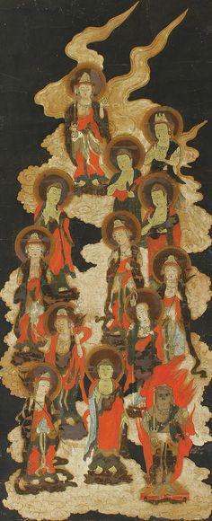Thirteen Buddhas, the Wisdom Kings. Japanese Buddhist Art Kakejiku.
