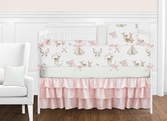 Deer Floral Collection Crib Bedding - 9 Piece Baby Crib Bedding - Baby's Own Room Girls Pink Bedding, Baby Girl Bedding Sets, Baby Crib Bedding, Nursery Bedding, Crib Sheets, Girl Nursery, Bedding Shop, Nursery Room, Bed Room