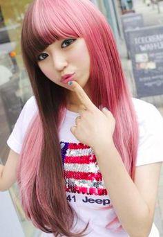 Split hair brown & pink