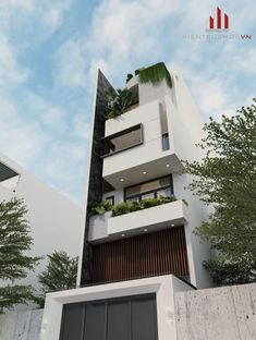 GIẢI PHÁP MẶT TIỀN CHỐNG NẮNG HƯỚNG TẤY Duplex House Design, Modern House Design, Box Architecture, Narrow House Designs, Apartment Projects, House Front, Little Houses, Minimalist Home, Exterior Design