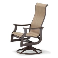 Telescope Casual St. Catherine Swivel Patio Dining Chair Finish: Textured Graphite, Fabric: Parchment