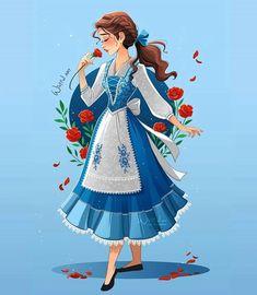 Disney Girl Characters, Disney Princess Drawings, Disney Princess Pictures, Disney Princess Art, Disney Fan Art, Disney Drawings, Beauty And The Beast Drawing, Disney Beauty And The Beast, Belle Disney