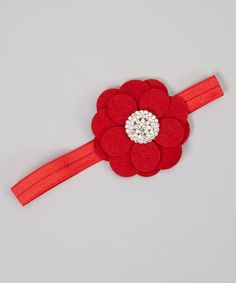 Red Rhinestone Flower Headband | Daily deals for moms, babies and kids