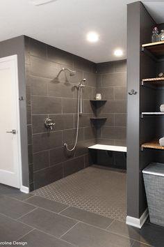 Master bathroom shower. Industrial. Gray bathroom. Interior Designer. Caroline Barr. Caroline Design.