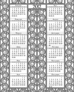 Black and White printable calender 2012 by  SHALA KERRIGAN