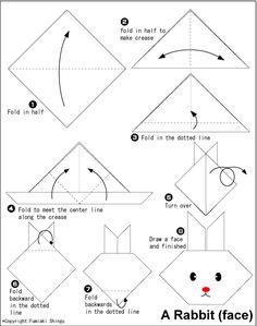 origami carinha de coelho