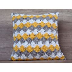 Cute crochet pillow cushion cover, cool yellow gray throw pillows,... (90 BGN) via Polyvore featuring home, bed & bath, bedding, yellow bedding, cotton bed linen, gray bedding, grey bedding and diamond bedding