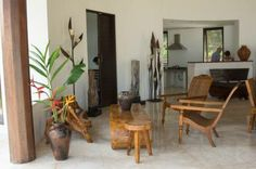 handcrafted wooden furniture in the living area of Villa Bambolina