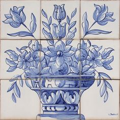Portuguese Traditional Clay Azulejo Tiles Panel Mural DELFT BLUE VASE OF FLOWERS #BicesseTiles #XVIII #Tiles
