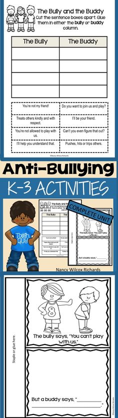 A complete unit for K-3 on anti-bullying! Includes activities and posters!