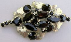 Vintage Marquise Rhinestone Brooch Pin Prong Set Black Glass Grape Leaf Setting #Unbranded