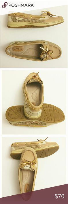 NWOT [Sperry] Top Siders. Only worn once to get pictures done in. These are in brand new condition. Tan leather with gold material on sides. Pictures are of actual shoe, not stock photos. Sperry Top-Sider Shoes Flats & Loafers