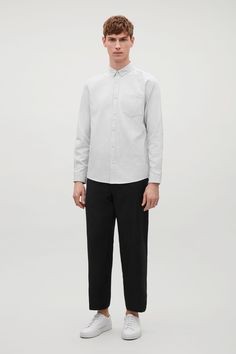 COS image 8 of Button collar shirt in Light Grey