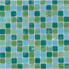 Elida Ceramica�Mint Oil Glass Mosaic Square Wall Tile (Common: 12-in x 12-in; Actual: 11.75-in x 11.75-in)