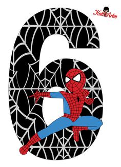 Spiderman Stickers, Spiderman Theme, Black Spiderman, Minion Party, Superhero Party, Birthday Template, Man Party, Birthday Numbers, 6th Birthday Parties