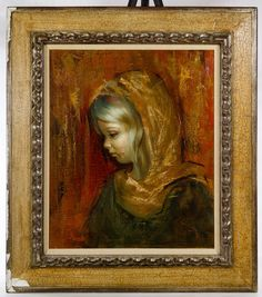 Lot 662: Barcellini (Italian, 20th Century) Oil on Canvas; Undated, signed lower left, depicting a portrait of young girl