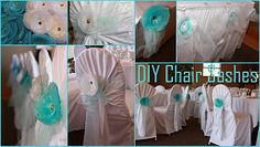 blue organza wedding decorations | blue tulle sashes blue white organza flowers with jeweled brads