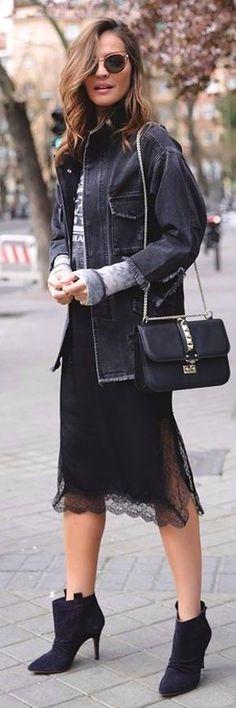 #Street #Fashion | Dark Gray Denim Jacket, Gray Patterned Sweater, Black lace  Slip Midi Dress, Black Booties | Lady Addict