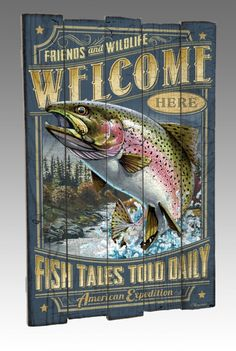 Rainbow Trout Fish Wooden Lodge/Log Cabin Sign