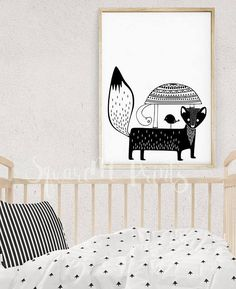 Nursery Scandinavian Style Home Decor, WOODLAND CREATURES, Turtle Print, Kids Poster, Monochrome Nursery Wall Art, Digital Download