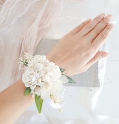 White flower wrist corsage, Bridesmaids corsage,Wrist corsage, Wedding corsage, White wedding, Flowe Mother Of Bride Corsage, Wrist Corsage Wedding, Bridesmaid Corsage, Bridesmaids, Wedding Dresses With Flowers, Prom Flowers, Wedding Bouquets, White Rose Boutonniere, Corsage And Boutonniere