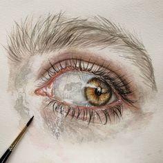 New art journal faces eyes ideas Watercolor Eyes, Watercolor Art Diy, Watercolor Paintings For Beginners, Art Background, Crayon, Gouache, Lovers Art, Art Inspo, New Art