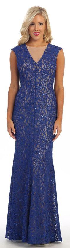 Long Sheath Royal Blue/Nude Semi Formal Lace Dress Cap Sleeves