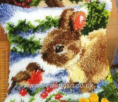 Rabbit In Winter Latch Hook Kit
