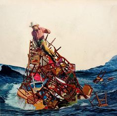 "Raft #2, 2006, collage, 11 3/4"" x 11 3/4"" 