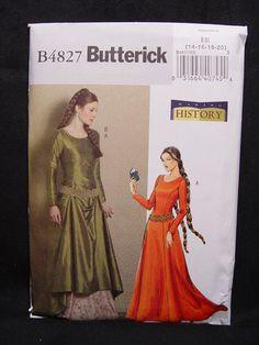 New Butterick B4827 Women Pattern SCA Renaissance Costume Sz 14 16 18 20 | eBay