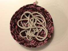 Brown and Pink Batik Coiled Rope Basket Fabric by Clothstitched