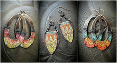 Earrings Everyday: Discovering an Old World Look Paper Earrings, Paper Jewelry, Fabric Jewelry, Paper Beads, Metal Jewelry, Jewelry Crafts, Vintage Jewelry, Jewelry Ideas, Pop Tab Crafts