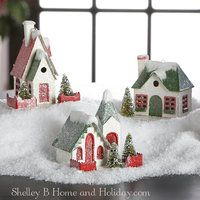 Putz style house Christmas ornaments RAZ Town Square collection, 3600501