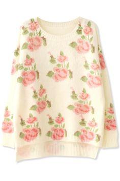 Women's Fashion Clothing #Graceful #Floral Pattern Angora #Sweater - OASAP.com