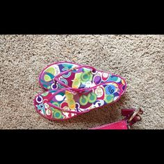 Coach Sandals Pink Coach Sandals with colorful design; only wore one time while vacationing and they were too small; US Women's size 6.5 but I think they would better suite a size 6; pretty narrow as well Coach Shoes Sandals