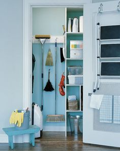 cleaning closet 7 Broom-Closet Storage Solutions for Kitchens of Any Size: gallery image 1 Diy Wood Floors, Cleaning Wood Floors, Diy Flooring, Hardwood Floors, Laundry Room Storage, Closet Storage, Closet Organization, Ladder Storage, Laundry Rooms