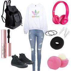 Untitled #97 by fashionxstuff on Polyvore featuring polyvore fashion style adidas Topshop Converse Pieces NLY Accessories Too Faced Cosmetics Eos