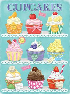 This Cupcakes Assortment Steel Sign features a weathered look that brings vintage bakery charm to your kitchen, dining room or restaurant! Cupcake Kunst, Cupcake Art, Cupcake Clipart, Cupcake Drawing, Cupcake Illustration, Cupcake Cross Stitch, Cupcake Pictures, Baking Cupcakes, Mini Cupcakes