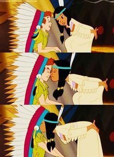 Princess Tiger Lily kisses Peter Pan