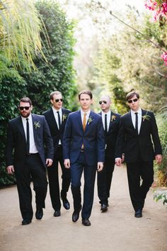 Navy groom suit, black groomsmen suits