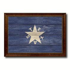 Texas History Lorenzo De Zavala Military Flag Texture Canvas Print Brown Picture Frame Home Decor Wall Art Gifts