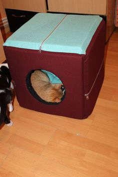 3 in 1 box, designed specifically for cats or small dogs, it turns in bed or armchair. It's a cube with sides of 46 cm, made of 4 cm thick sponge, the cover is removable due to the zippers.The cushion has 2 sides, stuffed with wadding.