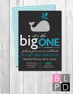 Whale First Birthday Party Invitation The Big by BeccaLeePaperie
