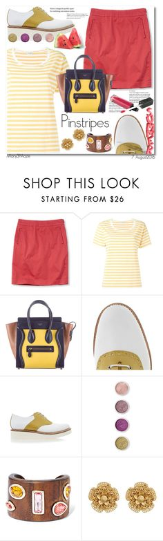"""""""Pinstripes"""" by octobermaze ❤ liked on Polyvore featuring Yves Saint Laurent, CÉLINE, Grenson, Terre Mère, Oscar de la Renta, Miriam Haskell and pinstripes"""
