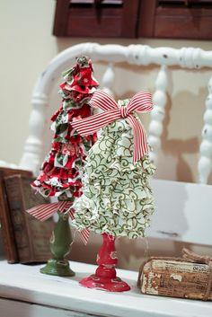 Deshilachado: Tutoriales: Árboles de Navidad / Tutorials: craft Christmas trees