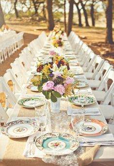 Mismatched vintage china...avoid overdoing the centerpieces.  Keep it simple. At Vintage Emporium Rentals our vintage china is often rented for this type of setting. How pretty.