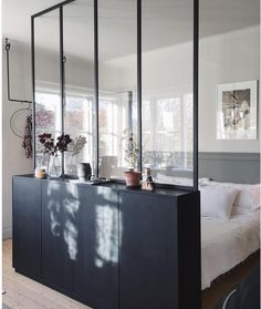 IKEA Ivar cabinets with a glass wall above create a hidden sleeping area in . - IKEA Ivar cabinets with a glass wall above create a hidden sleeping area in a studio … - Ikea Interior, Interior Design, Studio Interior, Interior Livingroom, Luxury Interior, Interior Ideas, Modern Interior, Ikea Ivar Cabinet, Deco Studio