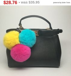 SUMMER CLEARANCE WEEKEND Trio rabbit fur pom pom corsage Bag Charm Totem keychain Yellow Blue Hot Pink