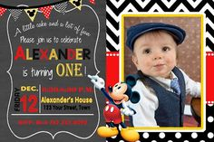 MICKEY MOUSE INVITATION Mickey Birthday Card by DazzelPrintz